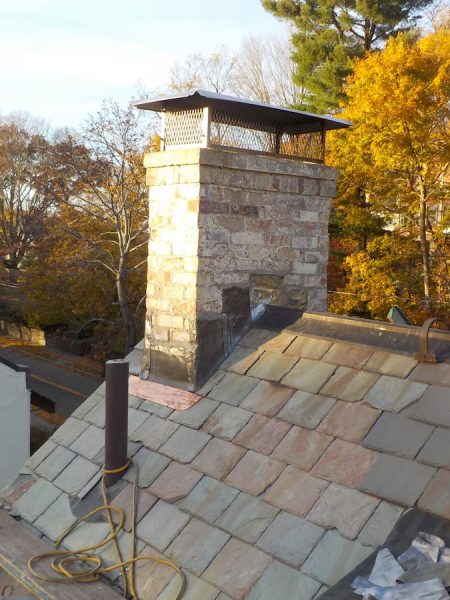 New Copper Gutters Standing Seam Chimney Base And Cap