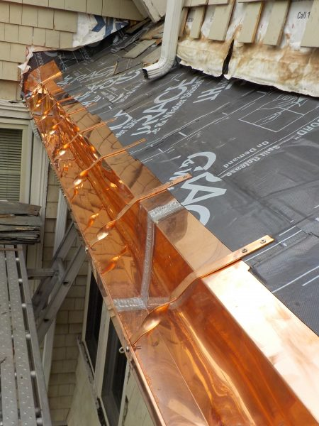New Copper Gutter And Apron At Dormer Triple M Contracting